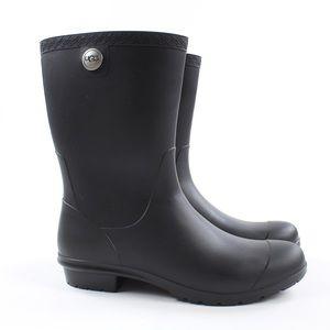 UGG Sienna Black Matte Waterproof Rain Boots Sz 9